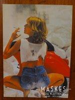 Poster vespa V50 rood  1 girl